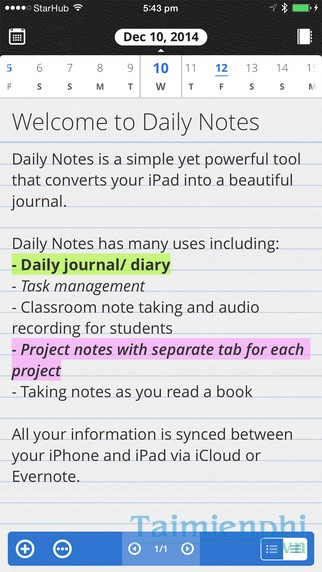 Daily Notes for iOS