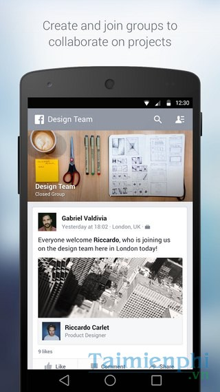 tai Facebook at Work for Android cho dien thoai