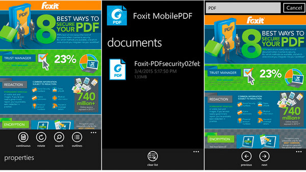 Foxit Mobile PDF cho Windows Phone