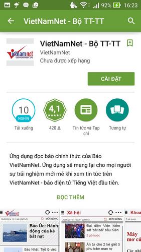 VietNamNet - ứng dụng đọc báo VietNamNet trên Android -Ứng dụng đọc bá
