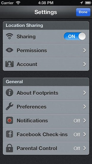 Footprints for iOS