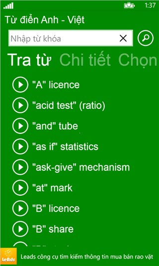 Anh Việt Dict for Windows Phone
