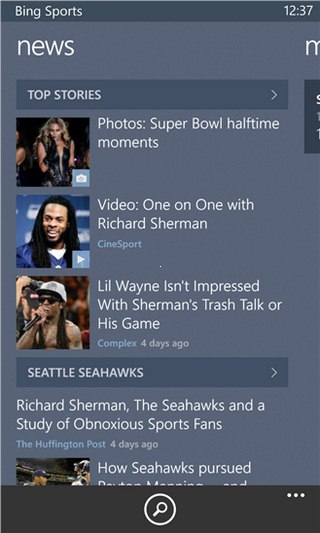 Bing Sports for Windows Phone
