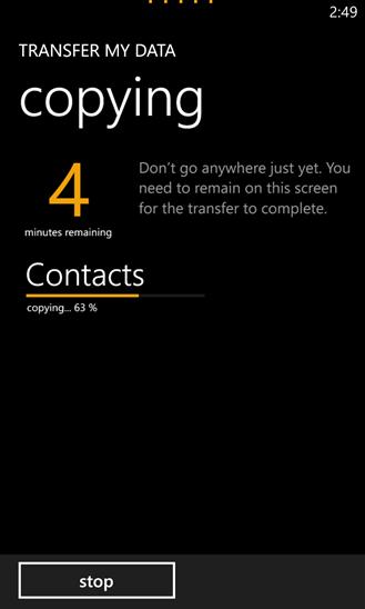 Chuyển dữ liệu của tôi for Windows Phone