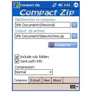 Compact ZIP Utility for Pocket PC