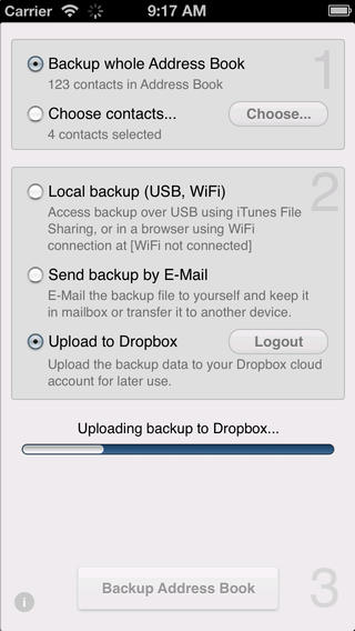 Contacts Backup to Dropbox for iOS