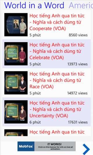 Học tiếng Anh qua video for Windows Phone