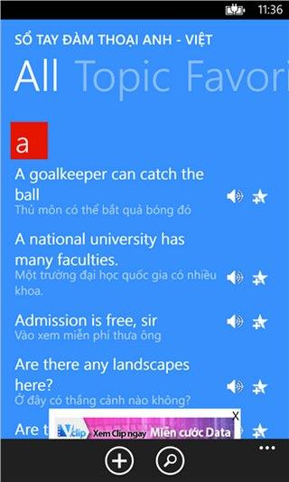 Sổ tay đàm thoại A V for Windows Phone