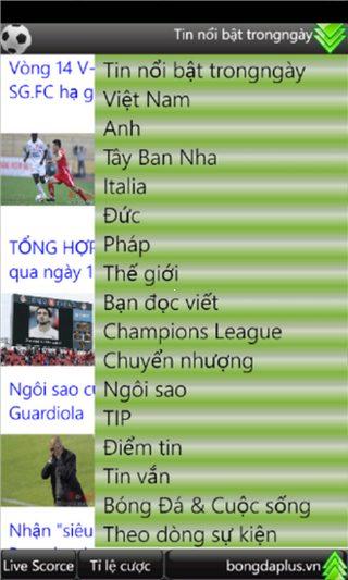 Tin bóng đá for Windows Phone