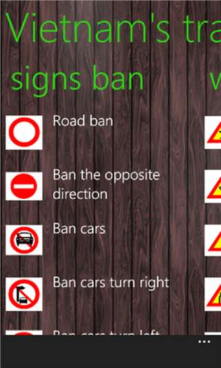 Vietnam Traffic Signs for Windows Phone