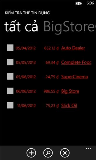 Kiểm tra thẻ tín dụng for Windows Phone