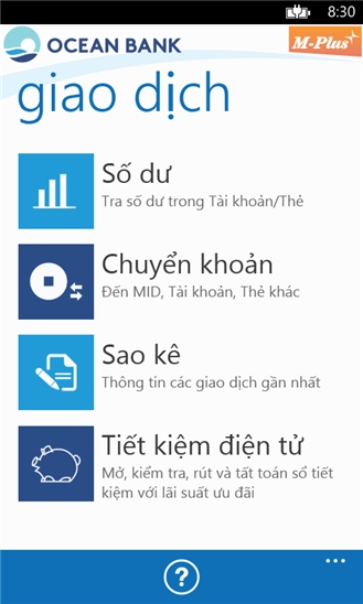 M Plus Banking for Windows Phone