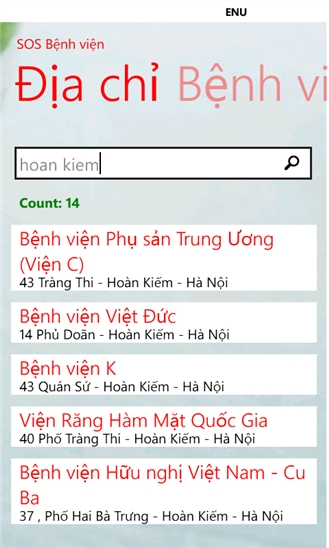 SOS Bệnh viện for Windows Phone