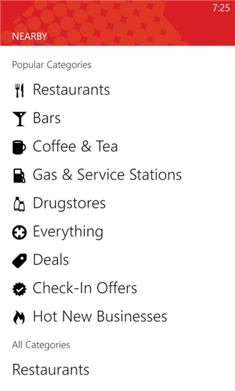 Yelp for Windows Phone